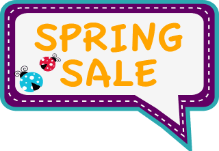 Spring Sale conversation bubble with ladybugs