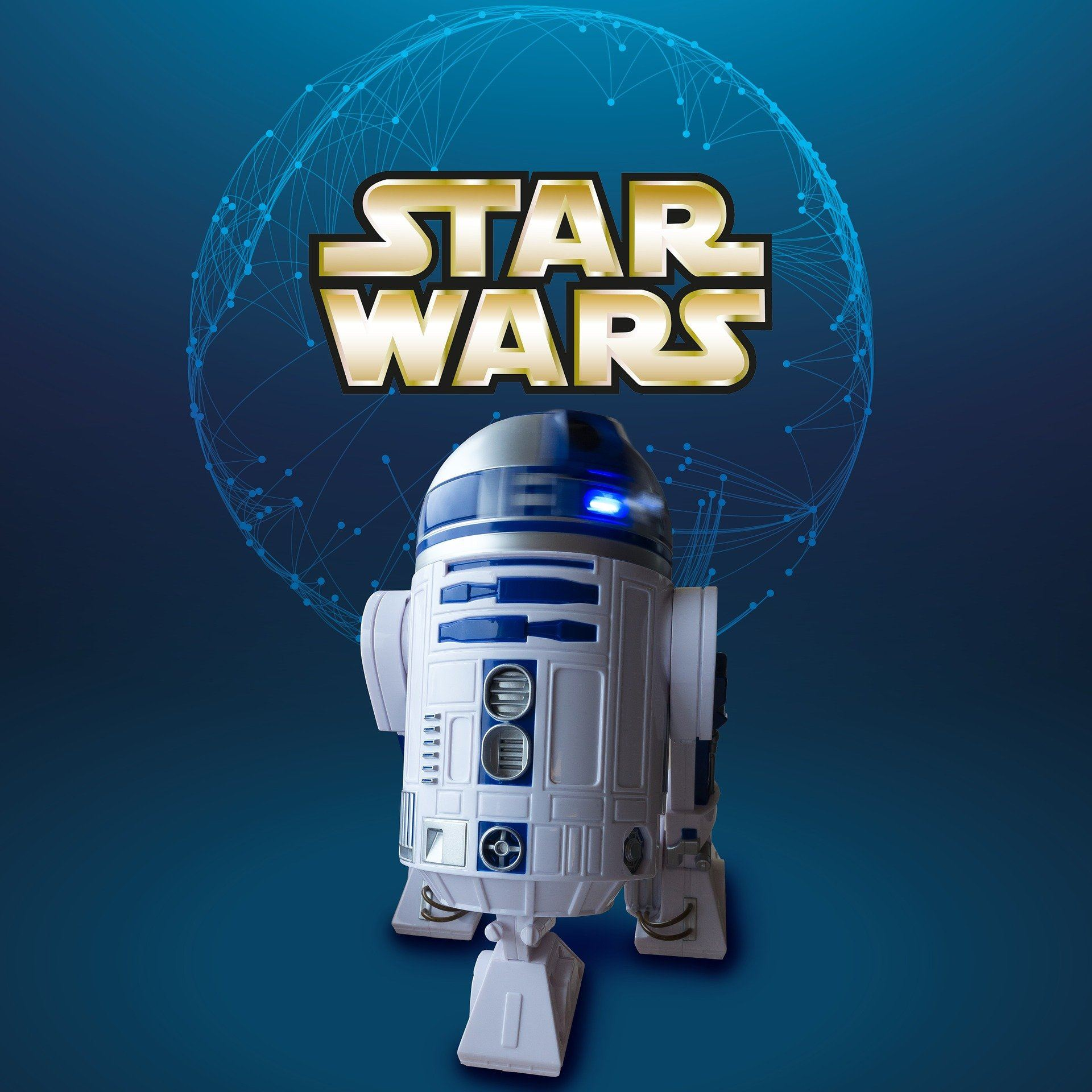 Star Wars, R2D2 in front of planet outline