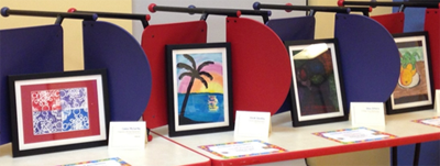 Student Artwork framed and showcased